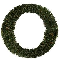 8' Pre-Lit Deluxe Windsor Pine Commercial Size Artificial Christmas Wreath - Clear Lights - green
