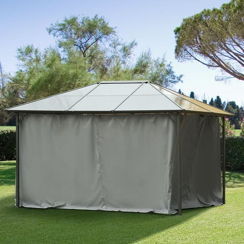 Outsunny 10' x 12' Universal Gazebo Sidewall Set with 4 Panels, Hooks/C-Rings Included for Pergolas & Cabanas