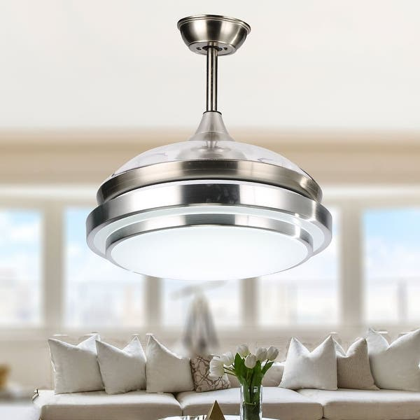 Contemporary Bladeless Ceiling Fan With Light And Remote Retractable Blades 42 Inches 42 Inches Overstock 28174116