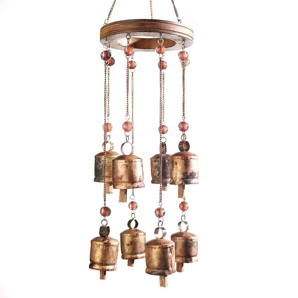 """Art & Artifact Indian Temple Wind Bells - 29"""" Long Wind Chime with 2"""" Iron Bells Nana Bells - 15 in. x 11 in. x 9 in."""