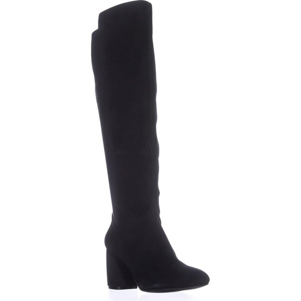 Nine West Kerianna Knee High Pull-On Boots, Black/Black Suede