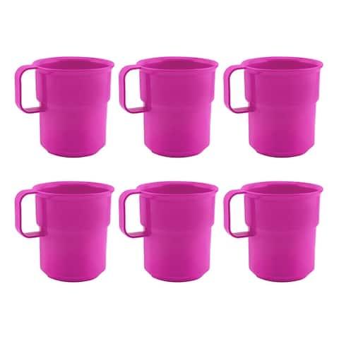 Break-Resistant Plastic Cup Mugs for Coffee, Juice - 8oz Pack of 6