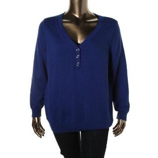 Karen Scott Womens Plus Knit Ribbed Trim Henley Sweater - 0X
