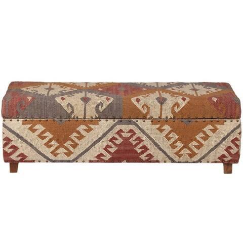 "Handmade Kilim Upholstered Wooden Storage Bench - 48""x16""x16"""
