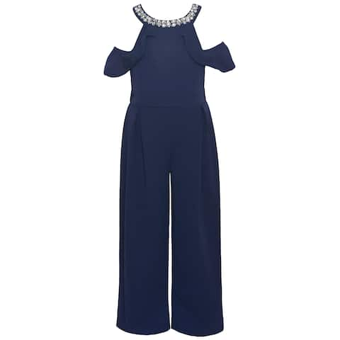 Girls Navy Blue Jeweled Cold Shoulder 1pc Dressy Occasion Jumpsuit