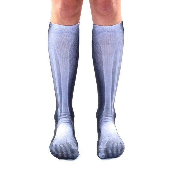 X-Ray Photo Print Knee High Socks - Black