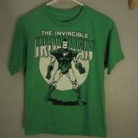 Marvel Comics Iron Man Youth M Medium Green Shirt 68Mp