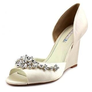 David Tutera Winter Women Open Toe Canvas Ivory Wedge Heel