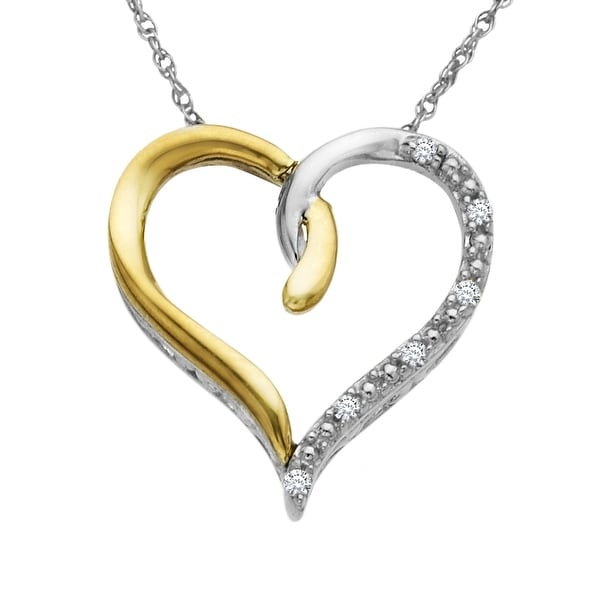 Heart Pendant with Diamonds in Sterling Silver & 14K Gold