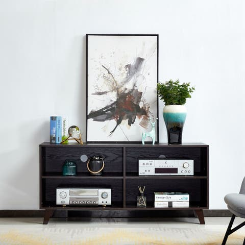 Transitional Wooden TV Stand with 4 Open Shelves