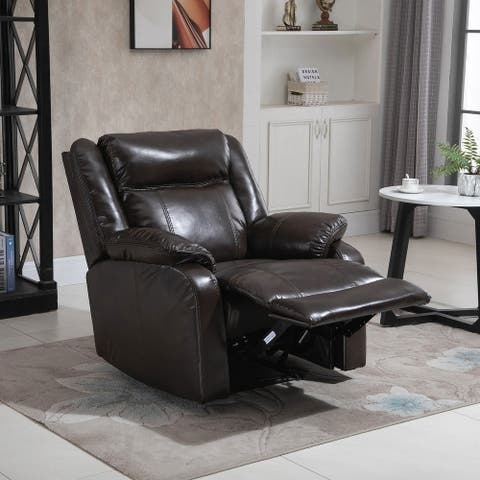 HOMCOM PU Leather Recliner Sofa Upholstered Manual Reclining Armchair with Footrest for Living Room