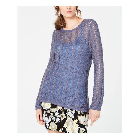 INC Womens Purple Open Knit Long Sleeve Jewel Neck Sweater Size XXL