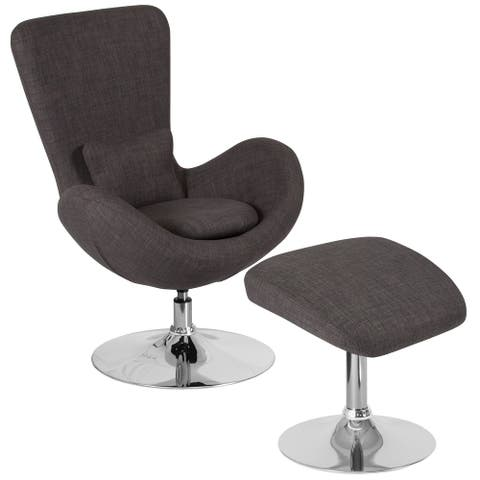 LeatherSoft Side Reception Chair w/Bowed Seat &Ottoman - Guest Seating