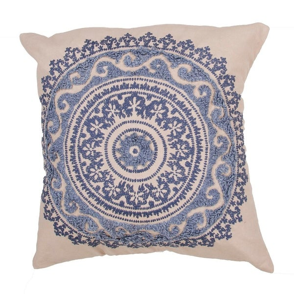 """22"""" Royal Blue, Denim and Ivory Cotton Floral Pattern Indoor Decorative Throw Pillow"""