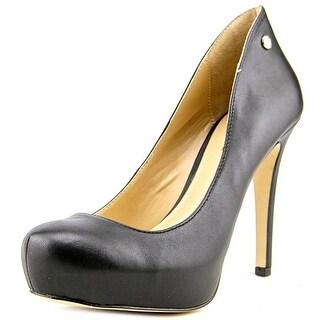 BCBGeneration Gisel Open Toe Leather Platform Heel