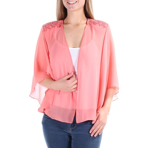 S. L. FASHIONS Womens Coral Beaded Bell Sleeve Open Top Size: 8