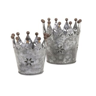 Set of 2 Galvanized Glinda Snowflake Crown with Ball Tips on Each Point