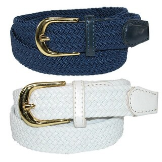 CTM® Women's Elastic Braided Stretch Belt (Pack of 2 Colors) (More options available)