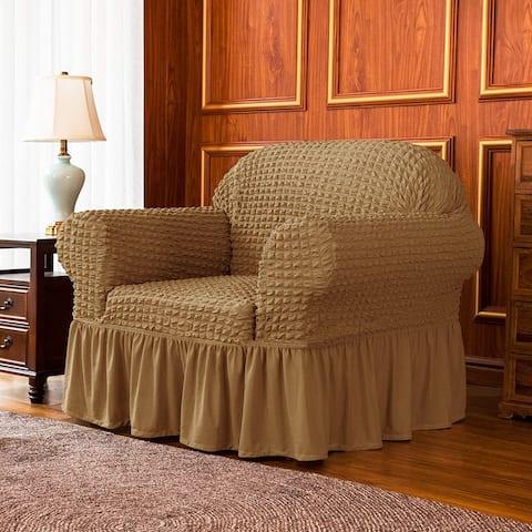 Subrtex 1-Piece Seersucker Skirt Slipcover Stretch Cover Armchair