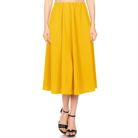 Women's Casual A-Line Pleated Midi Skirt