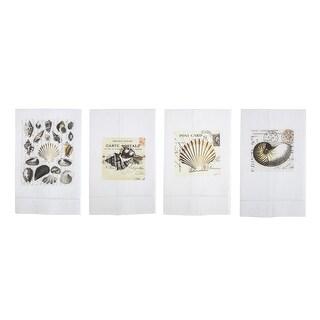 Sepia Toned Seashells Printed Linen Tea Towel and Set - Design C