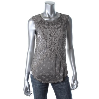 Free People Womens Cotton Blend Lace Front Tank Top - S