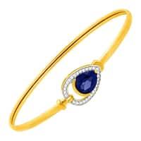 2 1/10 ct Ceylon Sapphire & 1/8 ct Diamond Teardrop Bangle Bracelet in 10K Gold