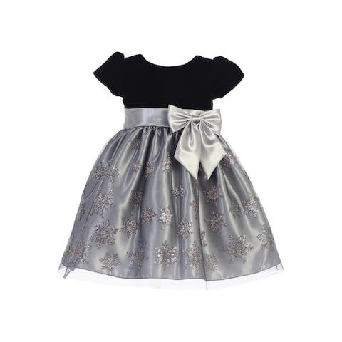 0337df114eb9 Lito Girls Silver Black Velvet Glitter Tulle Snowflake Christmas Dress