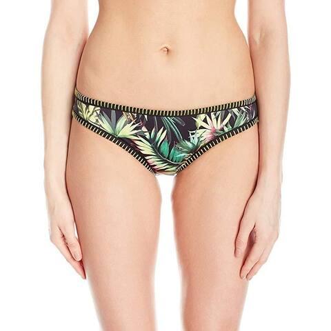 Lucky Brand Junior's Coastal Palms Binded Hipster Bikini Bottom, Black, Sz: M