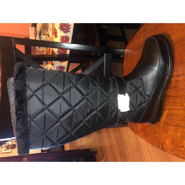 78c92dd8a315 Shop FIC Peerage Tammy Women s Black Leather and Nylon Fleece Extra-wide- width Knee-high Boots - Ships To Canada - Overstock - 14162444