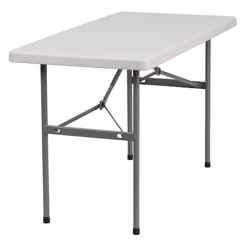 """48"""" White and Gray Bi-Fold Contemporary Folding Table"""
