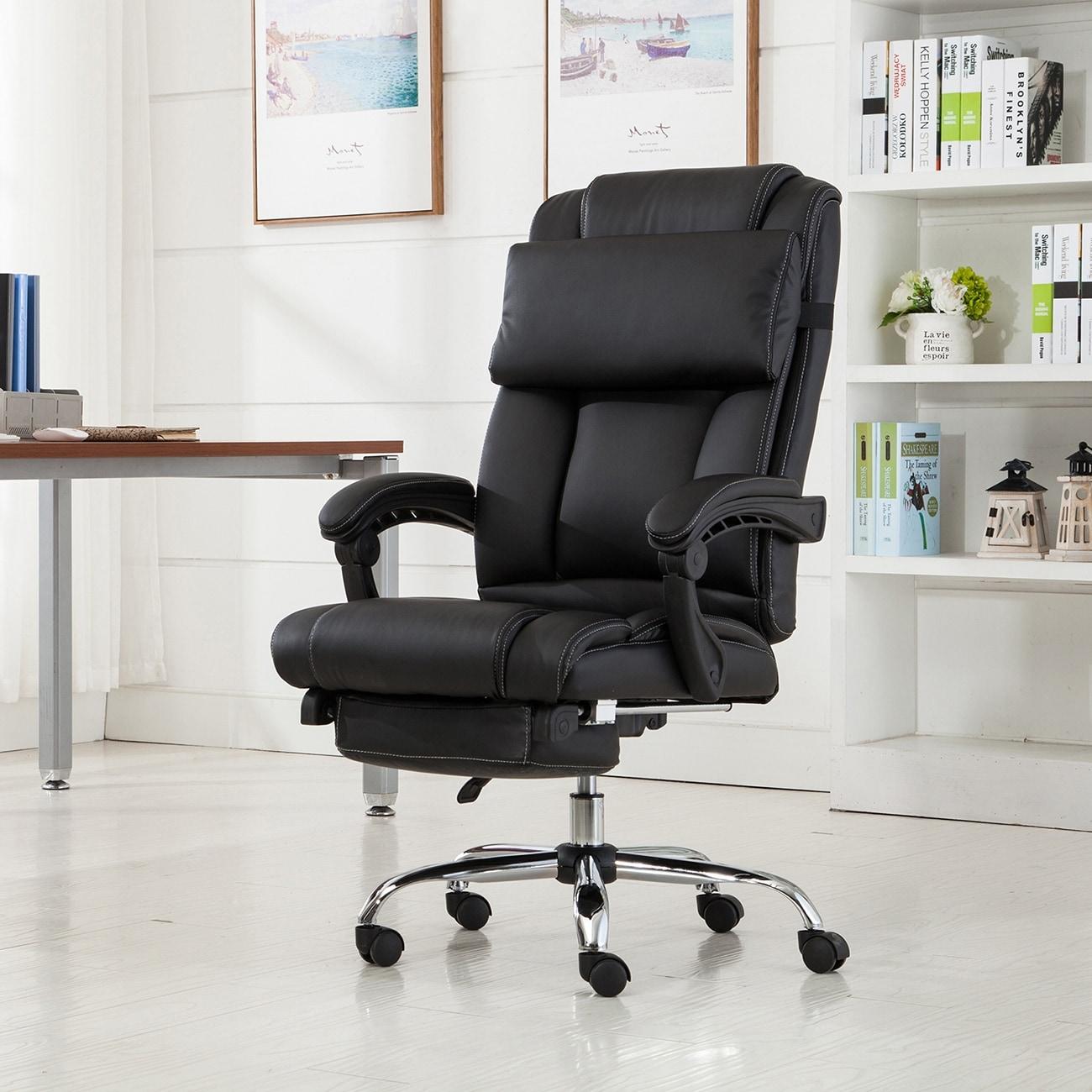 Belleze Executive Reclining Office Chair High Back PU Leather Footrest  Armchair Recline w/ Pillow -Black