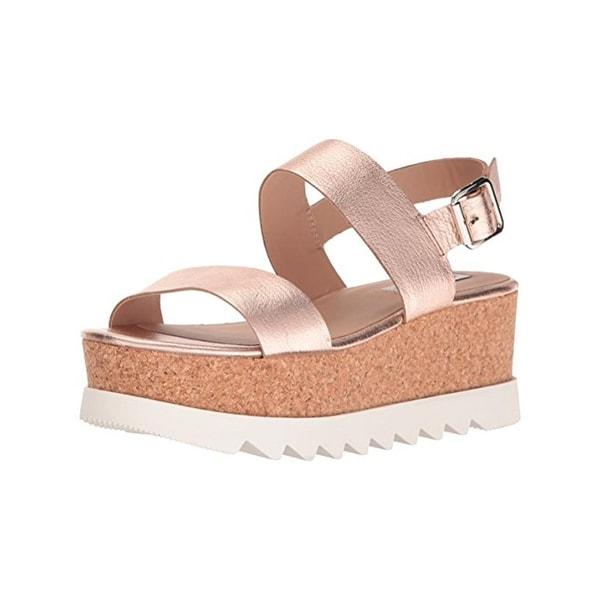 Steve Madden Womens Krista Flatform Sandals Metallic Open Toe