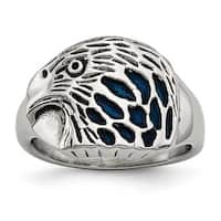 Chisel Stainless Steel Polished Blue Enamel Eagle Ring (13 mm)
