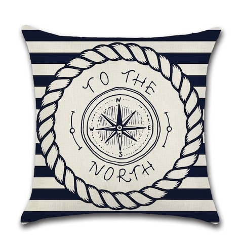 To The North Beach House Nautical Theme Adventure Navy Blue Decorative Large Pillow Cover