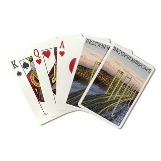 Tacoma, Washington - Narrows Bridge and Rainier - Lantern Press Artwork (Poker Playing Cards Deck)