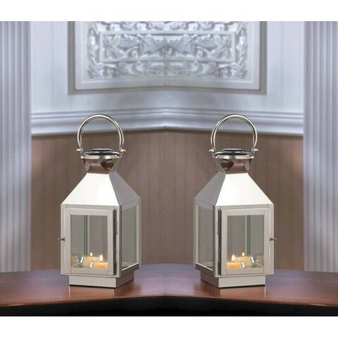Set of 2 August Small Stainless Steel Candle Lanterns