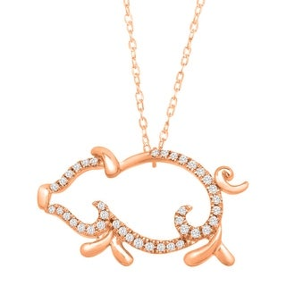 1/10 ct Diamond Pig Necklace in 10K Rose Gold