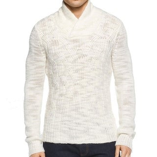 Calvin Klein NEW White Ivory Mens Large L Shawl-Collar Knit Sweater