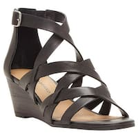 Lucky Brand Women's Jewelia Strappy Wedge Sandal Black Leather