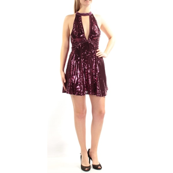 edbae79e2a2 Shop FREE PEOPLE Womens Purple Sequined Velvet Trim Sleeveless Halter Mini  Fit + Flare Cocktail Dress Size  6 - Free Shipping On Orders Over  45 -  Overstock ...