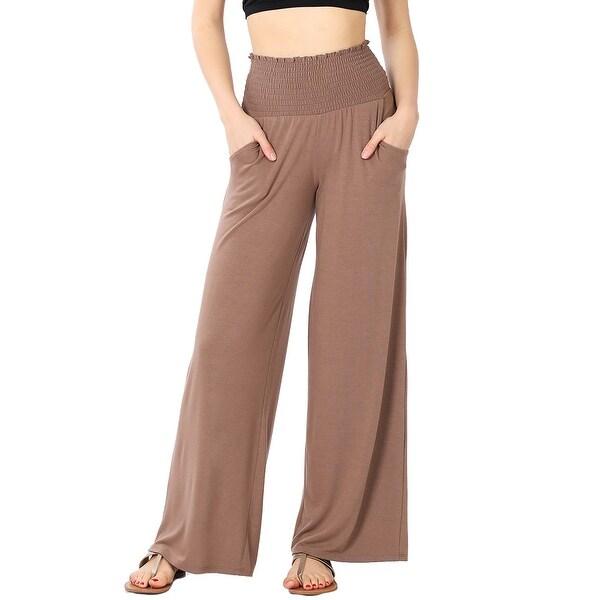JED Women's Smocked Waist Soft Knit Wide Leg Pants S-3XL. Opens flyout.