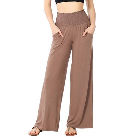 JED Women's Smocked Waist Soft Knit Wide Leg Pants S-3XL