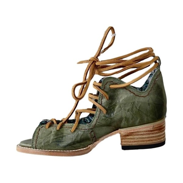 Freebird Sandal Womens Peace Lace Up Open Toe Ankle Tie Green