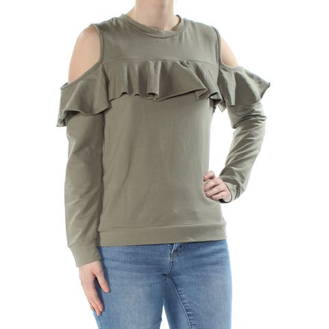 POLLY & ESTHER Womens Green Ruffled Cold Shoulder Long Sleeve Jewel Neck Top Size: XS