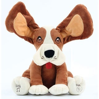 Musical Peek-a-Boo Animated Plush Dog - Floppy-Eared Singing and Moving Stuffed Puppy Toy for Kids - Battery Operated - 10 in.