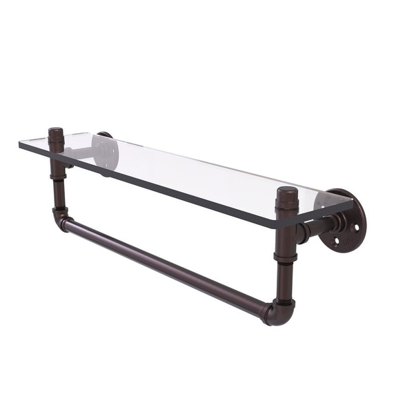 Allied Brass Pipeline Collection Glass Shelf with Towel Bar