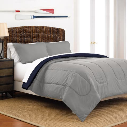 Martex Reversible Full/Queen Light Grey/Navy Comforter Set