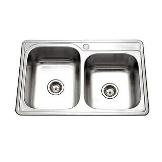 "Houzer ISL-3322BS  Glowtone 33"" Double Basin Drop In 20-Gauge Stainless Steel Kitchen Sink with 60/40 Split"