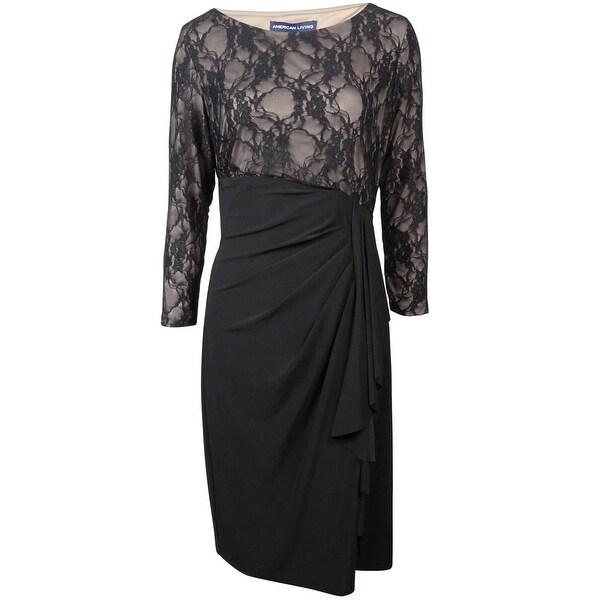 American Living Women's Illusion Lace Ruffle Dress - black/taupe
